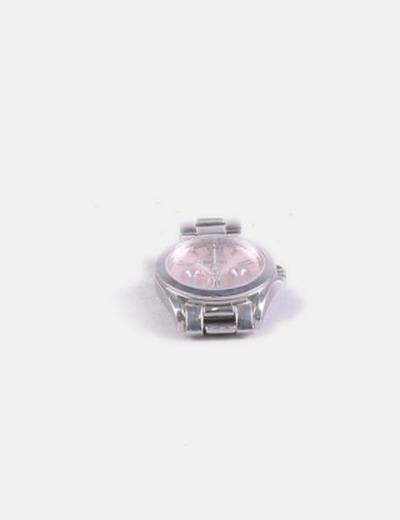 Reloj silver con corona rosa