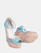 Sandalias azul turquesa con tacón de caucho  Guess