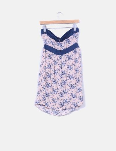 Vestido palabra de honor nude estampado floral azul