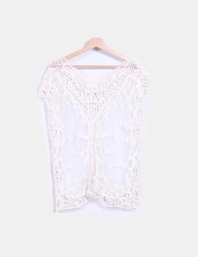 Blusa color crudo de crochet