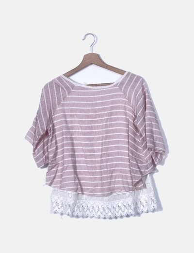 Camiseta rosa raya