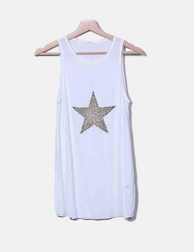 Camiseta blanca estrella glitter Stradivarius