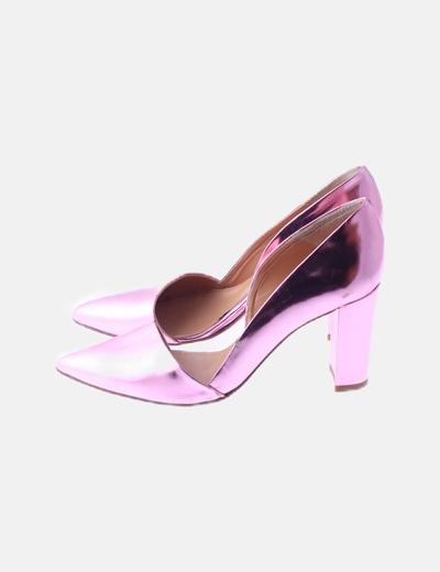 Stiletto rosa metalizado con abertura