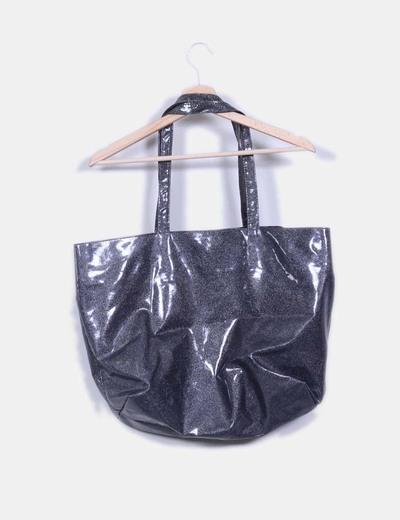 Maxi bolso gris con brillos