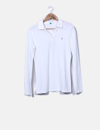 Polo blanco de manga larga Benetton