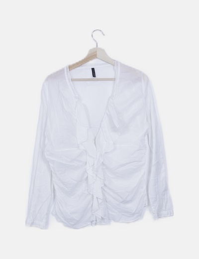 Blusa semitransparente blanca