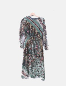 Vestido verde velvet print Zara 8a2686a039a9