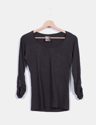 Top color taupe manga larga Bershka