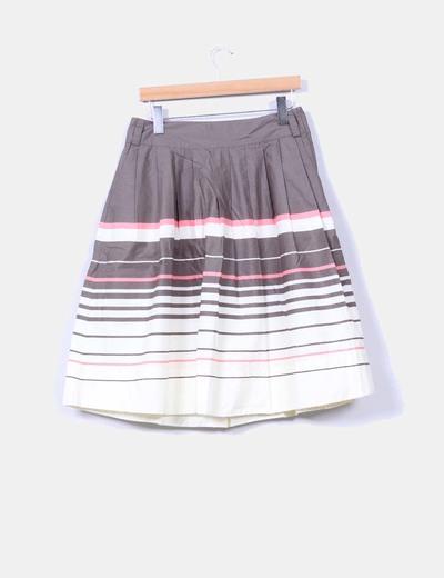 Falda midi tricolor