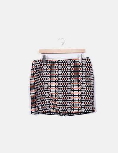 Saia reta bordada em detalhes laranja H&M