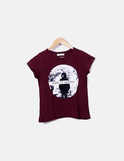 Camiseta print granate Pull&Bear