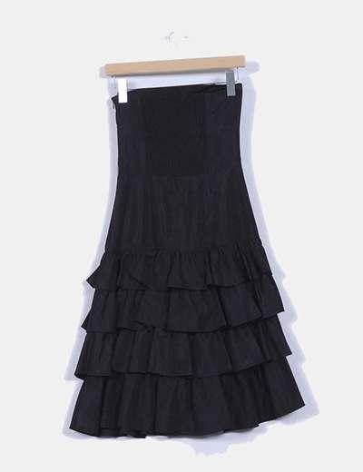 Vestido maxi avolantado de palabra de honor negro  Zara