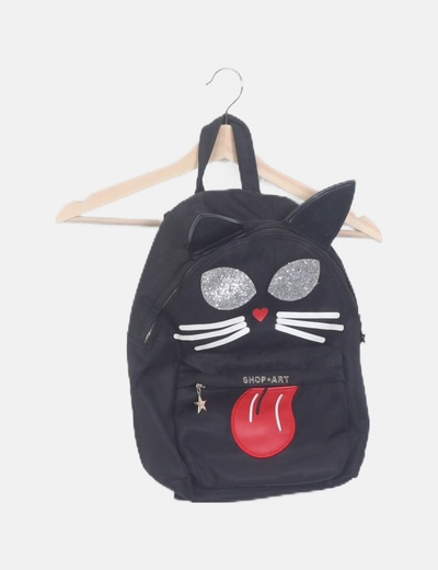Mochila negra print cat