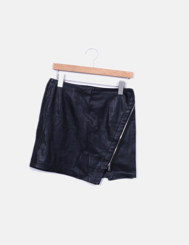 cremallera baratas Zara Faldas Falda polipiel con online negra OHvtxw6 ... d815f5bae482