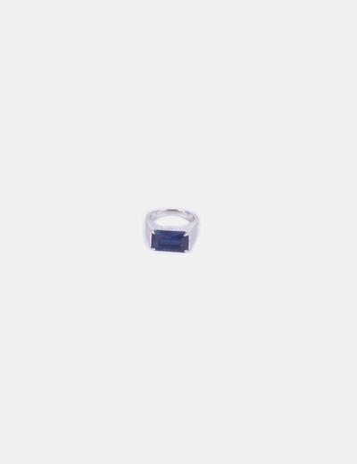 Anel de prata com mostrador azul Venca
