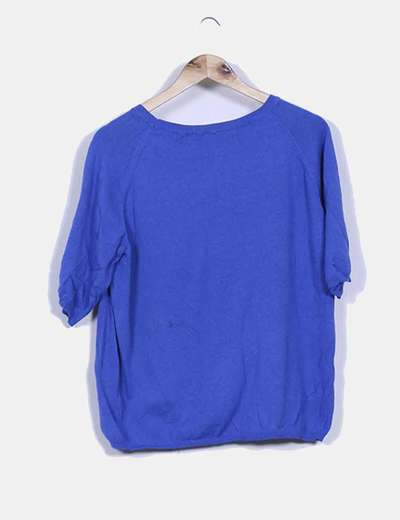 Tricot azul klein oversize cuello redondo