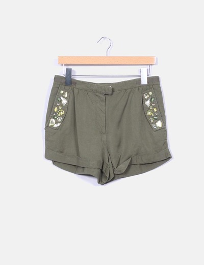 Shorts fluido verde militar con strass H&M