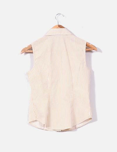 Camisa de rayas beige y blancas