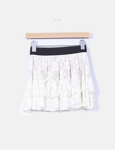 Mini falda volantes de tul beige Made in Italy