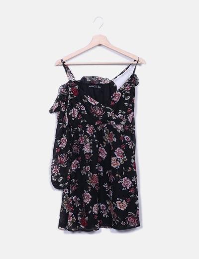 Robe noire à fleurs Boohoo