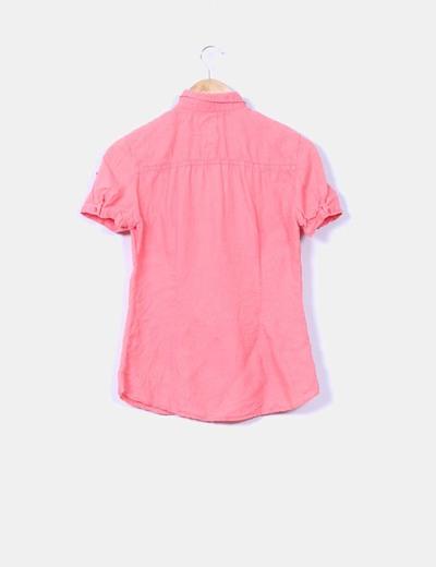 Camisa de lino coral manga corta