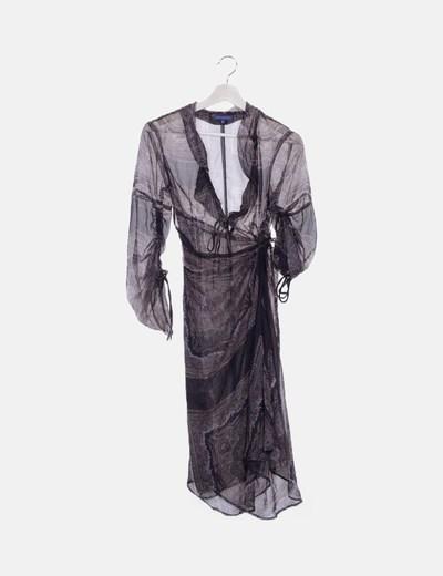 Vestido maxi gasa semitransparente mandala