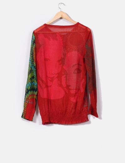 Camisa semitransparente estampada