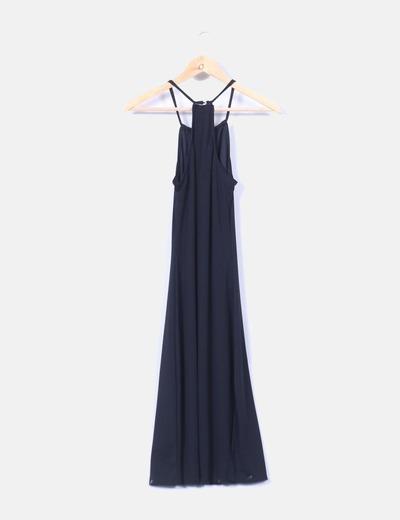 Vestido maxi negro detalle escote