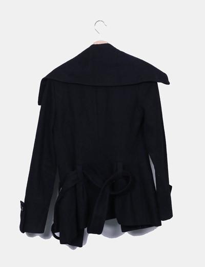 Chaqueta pano negro con cinturon