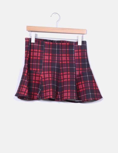 Mini falda neopreno tartán rojo con volante Bershka