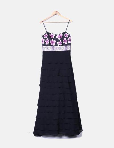 Maxi vestido negro con volantes escote floral y paillettes Sonia Peña