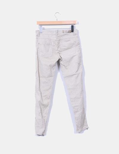 Pantalon beige estampado