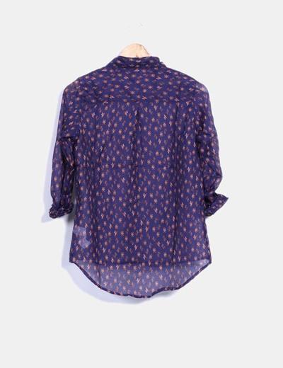 Camisa azul marino estampada