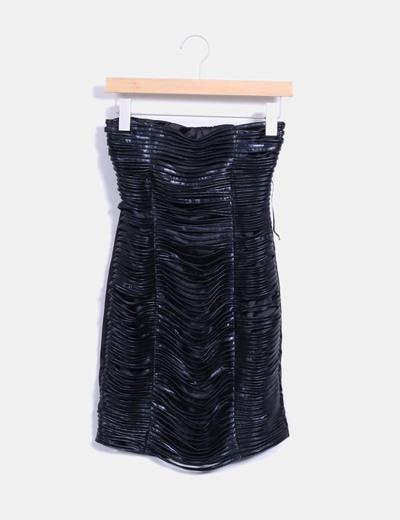 Vestido entallado tiras polipiel negras Q2