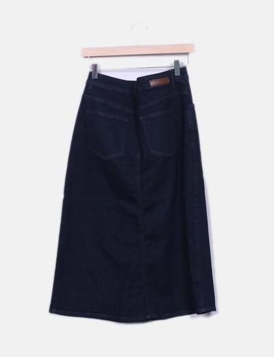 Maxi falda denim abotonada