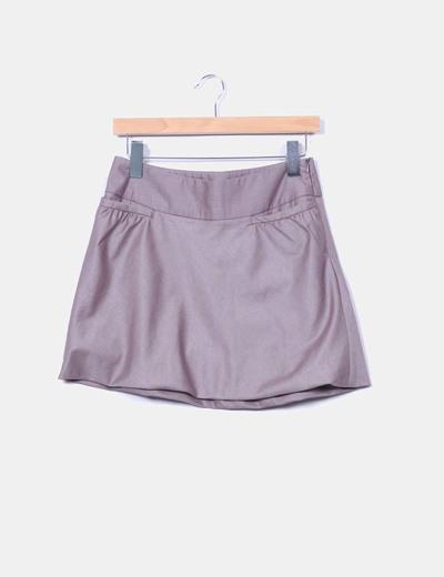Mini falda evasé marrón abullonada O'stin Studio