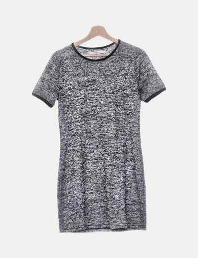Vestido de punto gris jaspeado