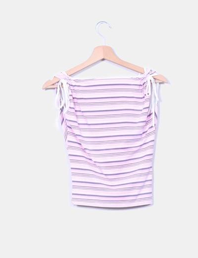 Top elastico rayas rosas escote cruzado