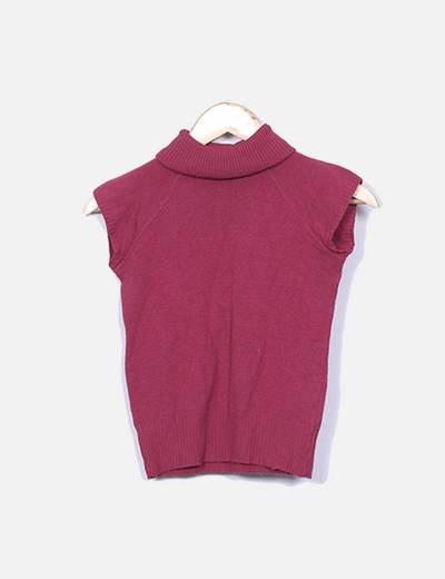 Camiseta de punto rosa con cuello vuelto DBJ