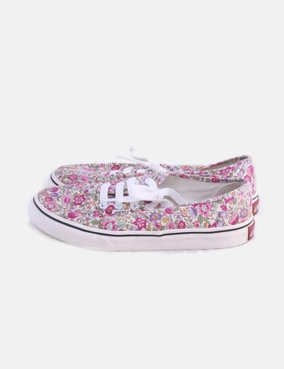 Sneaker floral de loneta
