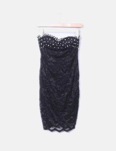 Robe noire en dentelle avec perles NoName