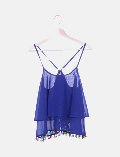 Blusa gasa azul con borlas