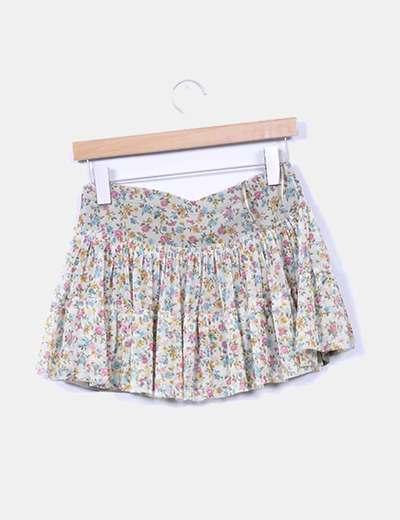 Mini falda volantes beige floral