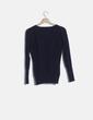 Jersey tricot azul marino escote pico Pull&Bear