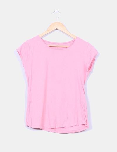 Top rosa cuello redondo NoName