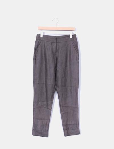 Pantalón verde kaki de lino Zara
