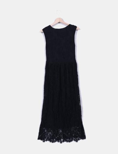 Vestido Negro De Encaje Largo