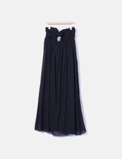 Maxi vestido negro palabra de honor Top Queens