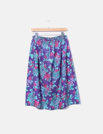 Falda midi morado floral