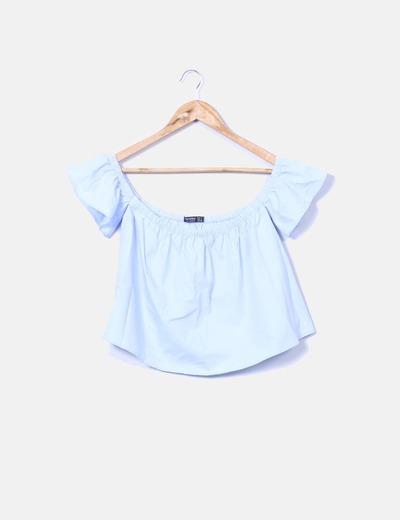 color rápido últimos lanzamientos venta directa de fábrica Blusa azul con hombros descubiertos